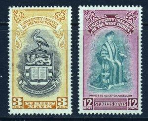 ST.KITTS-NEVIS KG VI 1951 The BWI University College Set SG 92 & SG 93 MINT
