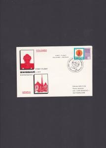 Sri Lanka First Flight Cover Colombo to Geneva Switzerland Swissair 1969