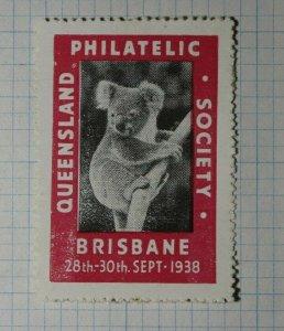 Queensland Philatelic Exhibition Brisbane AU Koala 1938 Philatelic Souvenir Ad
