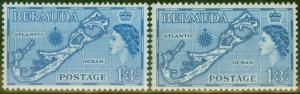 Bermuda 1953-54 1s3d Blue & 1s3d Greenish Blue SG145 & 145a V.F MNH