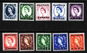 Bahrain-Sc#81-90-unused hinged QEII definitive set-1952-54-