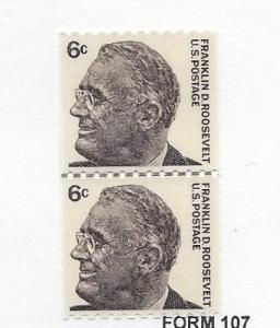 United States, 1305, 6c Franklin D. Roosevelt Coil Line Pair Shinny Gum, MNH