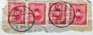EGYPT; 1939 British Military Post issue fine used POSTMARK Piece