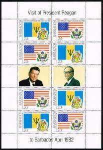 Barbados #582a Visit of Pres. Reagan Sheet of 8; MNH (4.40)
