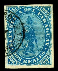 PARAGUAY  1870  LION   2r blue  Sc# 2 used