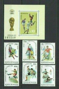 F1361 1981 ROMANIA FOOTBALL WORLD CUP SPAIN 1982 #3837-3842+BL184 MNH