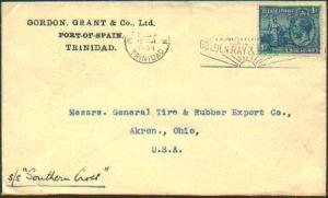 Trinidad 3d Britannia and KGV 1934 Port of Spain, Trinidad to Akron, Ohio.