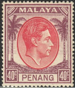 Penang 1949 KGVI 40c Red and Purple MH