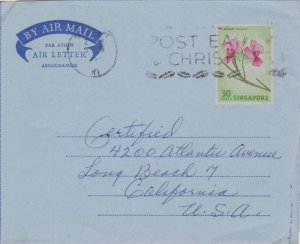 Singapore 30c Vanda Miss Joaquim Air Letter 1964 Singapore, M1 Post Early for...