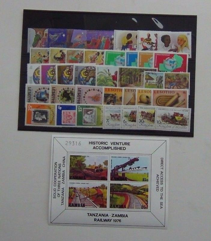 Zambia 1976 Trains M/S Rotary Xmas Lesotho Rowland Hill 1981 Royal Wedding MNH