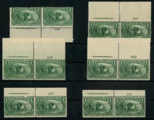 #285 (6) DIFF PLATE # PAIRS WITH IMPRINT F-VF OG NH CV $960 BT8582