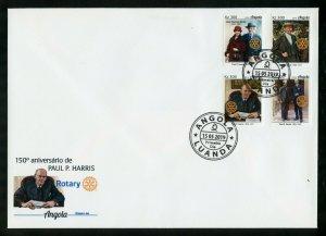 ANGOLA 2019 ROTARY INT'L 150th ANNIVERSARY OF PAUL HARRIS SET FDC