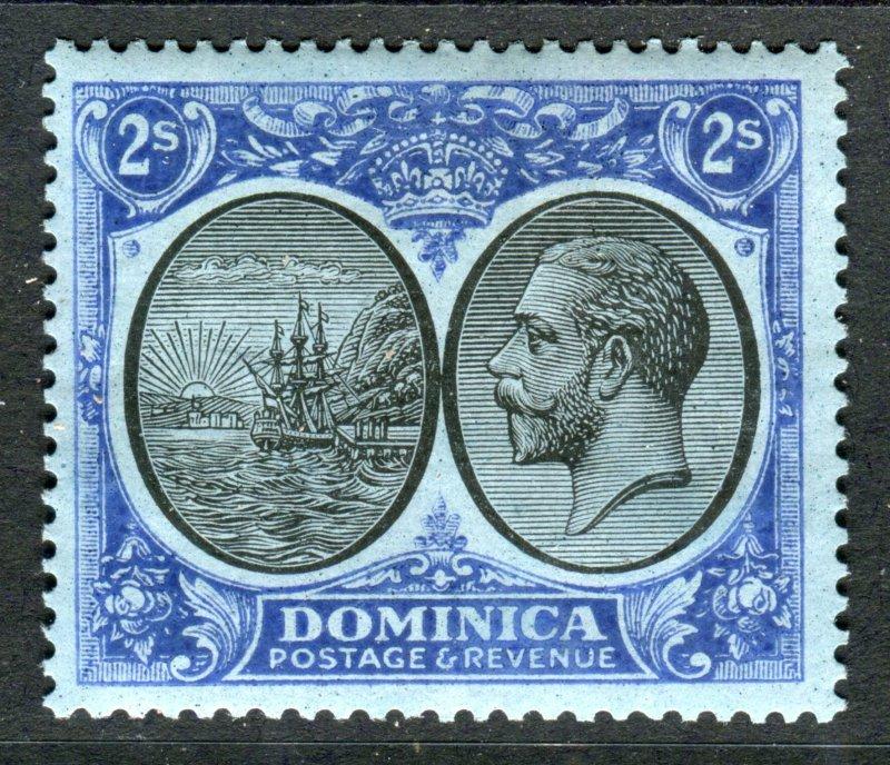 Dominica 1923 KGV. 2s black & blue/blue. Mint Hinged. SG84.