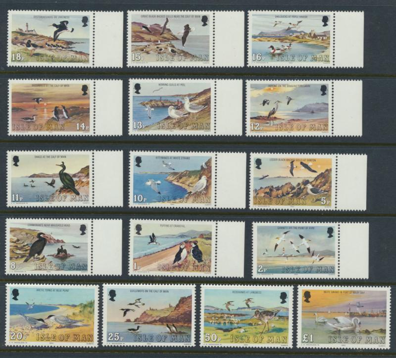 Isle of Man - SG 232-247  SC# 224-239  MUH  Sea Birds