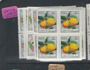 LEBANON   (P3101BB)  FRUIT      SG  1124-1135      BL OF 4   MNH