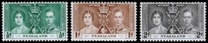 Nyasaland Protectorate Scott 51-53 (1937) Mint NH VF Complete Set C