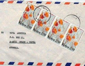 KENYA Air Mail Cover *Kwale* Flowers MIVA MISSIONARY Austria 1986{samwells}CA392