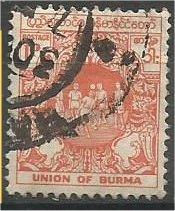 BURMA, 1954, used 1p, Ball Game Scott 139