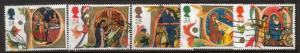 Great Britain Sc 1416-20 1991 Christmas stamps used