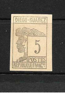 DIEGO SUAREZ 1890  5c  BLACK   MLH SG 7