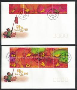 Christmas Is. Zodiac Chinese New Year 'Year of the Pig' 12v FDC SG#600-611