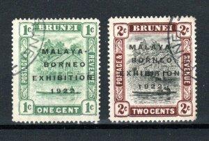 Brunei 1922 1c and 2c Malaya - Borneo Exhibition opt values FU CDS