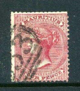 Mauritius 1860 4d rose no wmk SG 48 used