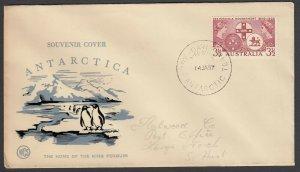 Australia Antarctic Terr. Jan. 14, 1957 cover with Penguin cachet