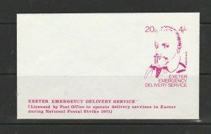 GB 1971 Strike mail, Pre printed envelope, Exeter Emergency services, 20p/4/-, U