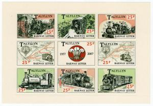 (I.B) Talyllyn Railway : Railway Letter Mini-Sheet