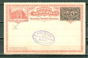 GUATEMALA 1897 VERY NICE 3cent. STATIONERY CARD...
