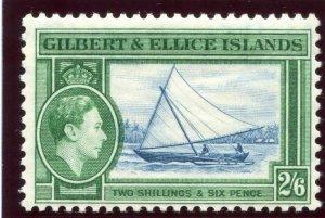 Gilbert & Ellice Is 1939 KGVI 2s6d deep blue & emerald MLH. SG 53. Sc 50.