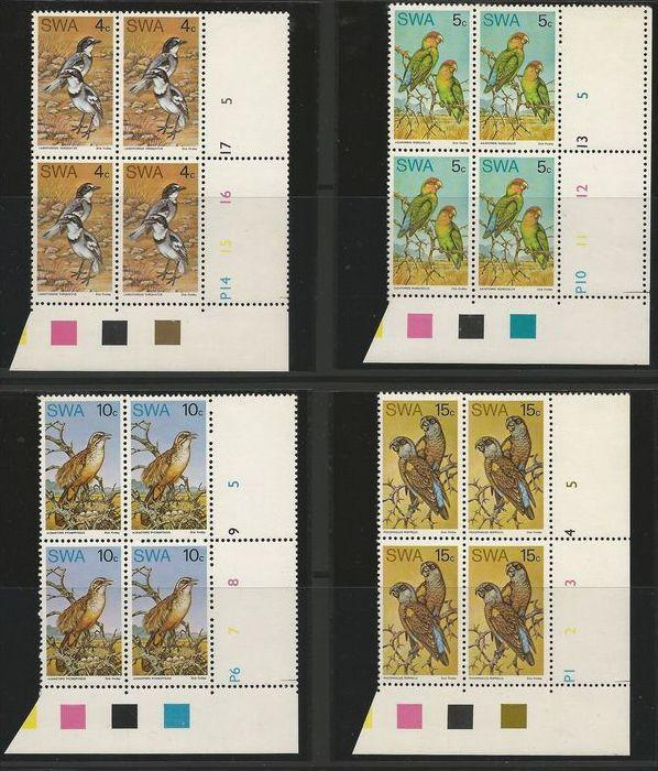 South West Africa 1974 Native Birds Set in Control Blocks of 4. MNH