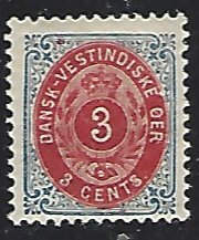 Danish West Indies #6 Mint Lightly Hinged Single Stamp cv $27.50