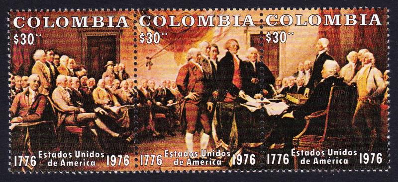 Colombia Bicentenary of American Revolution strip of 3v SG#1405-1407 SC#846
