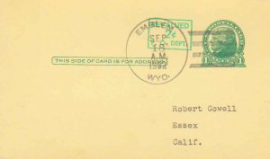 United States Wyoming Emblem 1952 4f-bar  Postal Card  Phialtelic.