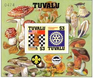 Tuvalu 1986 SG#376  Chess/Rotary/Fungi/Scouts SS Decorative Perforated  MNH