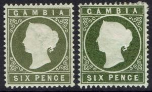 GAMBIA 1886 QV CAMEO 6D 2 SHADES