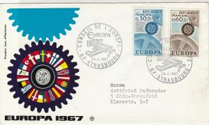 France 1967 Europa CEPT Flags Wheel Pic Cancels & Cogs Stamps FDC Cover Ref27490