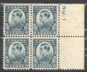 Canada #193 MINT NH - Block of 4 Right Plate No 1 C$140.00