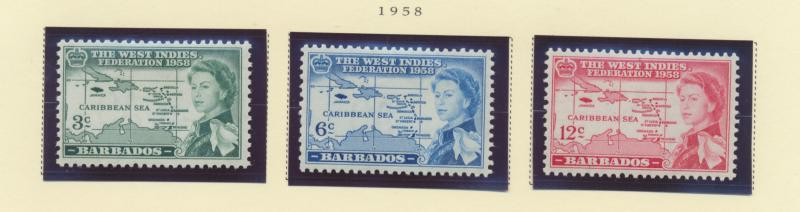 Barbados Scott #248 To 250, Mint Light Hinge Marks MLH, West Indies Federatio...