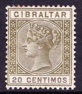 GIBRALTAR 1896 QV 20 Centimos Olive Green SG24 HM
