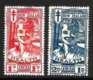 NEW ZEALAND 1931  HEALTH SMILING BOYS SET2 MH SG546/47