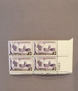 957, Wisconsin Centennial, Plate Block LR, Mint OGNH, CV $3.50
