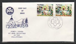 Philippines, Scott cat. 1465-1466. Girl Scouts, 40 Years. First day cover. ^