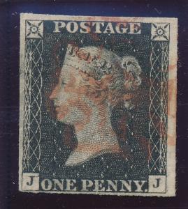 Great Britain Stamp Scott #1, Used, Red Maltese Cross, Penny Black, J/J - Fre...