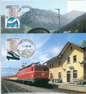 TRAINS - EUROPA : MAXIMUM CARD - LIECHTENSTEIN 1988