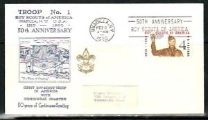 United States, 09/FEB/60. 50th Anniversary Cancel & Troop #1 cancel.