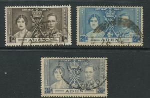 ADEN - Scott 13-15 - Coronation Issue - 1937- FU - Set of 3 Stamps
