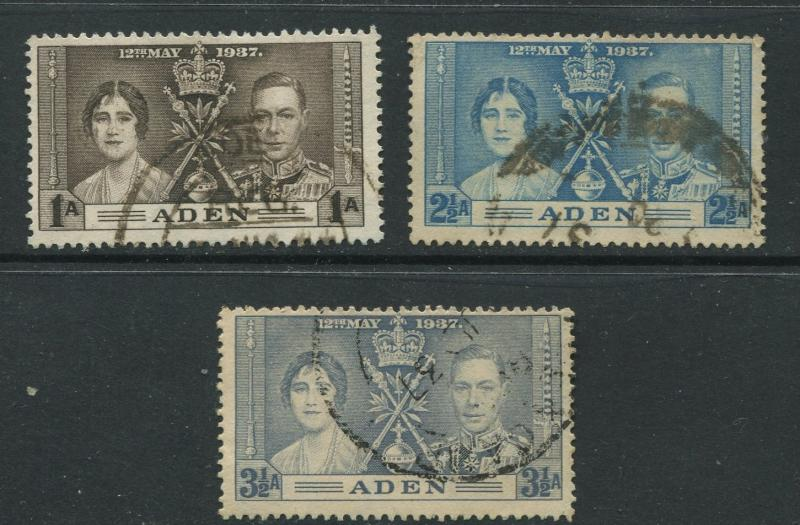 ADEN - Scott 13-15 - Coronation Issue - 1937- FU - Set of 3 Stamps